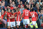 Manchester United's Juan Mata, 2nd left, celebrates with team mates after scoring during the English Premier League soccer match between Manchester United and Leicester City. Photo / AP