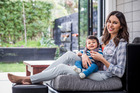 Nadia Lim with son Bodhi (6 months) at home. Photo / Todd Eyre