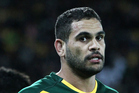 Greg Inglis shows his disappointment at Australia's defeat during the 2014 Four Nations final against New Zealand at Westpac Stadium, Wellington. Photo / Photosport