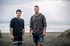 Kitesurfing friends Alex Widdowson (left and Louis Hahn (right), who rescued a fellow kitesurfer who had become tangled in his kitesurfing lines close to the rocks at Muriwai  30 September 2016  NZ Herald photograph by Michael Craig