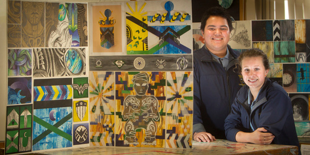 Loading Western Heights High School students Cameron Astwood, 15, (right) and Whetu Grooby, 15, are among students with work in the school's annual exhibition.  Photo/Ben Fraser