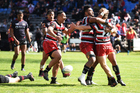 Counties players celebrate a try to Richard Judd during their win over Canterbury. Photo / photosport.nz