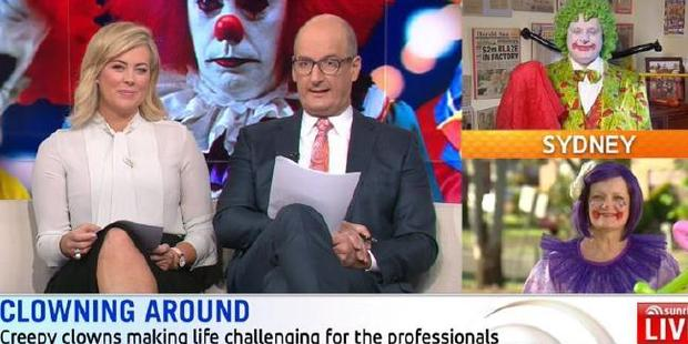The clowns were too much for the Sunrise hosts, who struggled to keep a straight face. Photo / Sunrise
