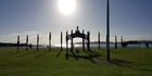 Children at play at the entrance to the Waitangi Treaty Grounds. Photo / Winston Aldworth