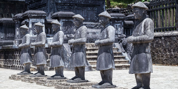 Statues of warriors in Imperial Khai Dinh Tomb in Vietnam. Photo / 123rf