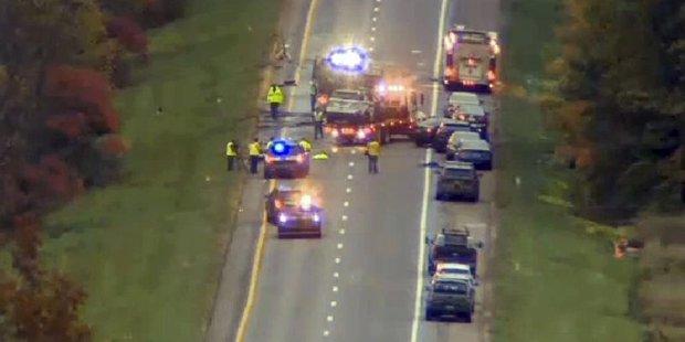 Wreckage on an interstate highway in Vermont. Photo / AP