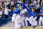 Toronto Blue Jays players celebrate their walk-off win to eliminate the Texas. Photo / AP