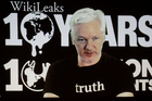 WikiLeaks founder Julian Assange participates via video link at a news conference marking the 10th anniversary of the secrecy-spilling group in Berlin, Germany, last week. Photo / AP
