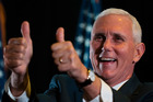Republican vice-presidential candidate, Indiana Governor Mike Pence gestures during a campaign stop in Gettysburg, Pennsylvania. Photo / AP