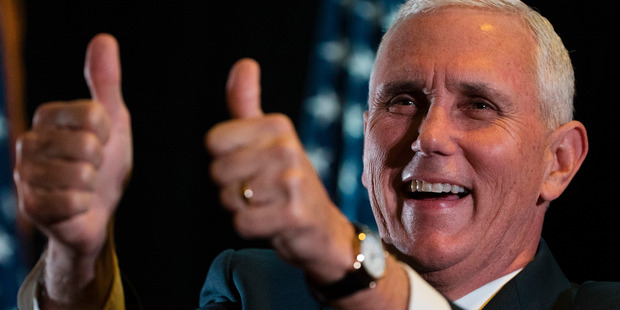 Loading Republican vice-presidential candidate, Indiana Governor Mike Pence gestures during a campaign stop in Gettysburg, Pennsylvania. Photo / AP