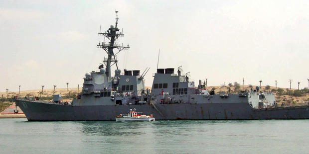 The US destroyer USS Mason sails in the Suez Canal in Ismailia, Egypt. Photo / AP