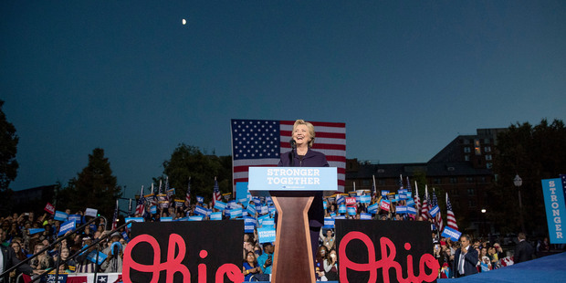 Democratic presidential candidate Hillary Clinton smiles while speaking in Columbus, Ohio. Photo / AP