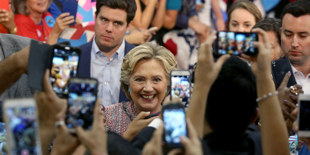 Democratic presidential candidate Hillary Clinton at a rally at Miami Dade College in Miami. Photo / AP