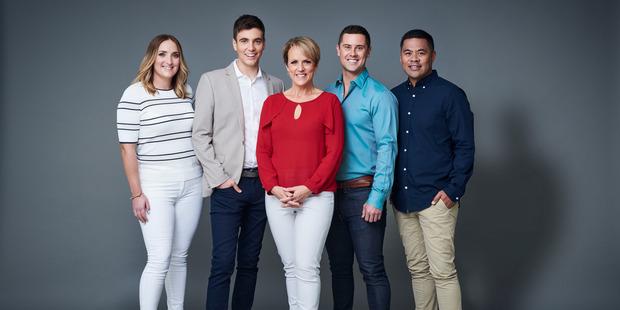 Hilary Barry leads the new TVNZ Breakfast Lineup , L-R Brodie Kane , Jack Tame, Hilary Barry , Sam Wallace and Daniel Faitaua