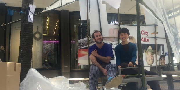 Loading Artists Chris Berthelsen and Xin Cheng had their artwork pulled down by Auckland Council - after the organisation had granted them a permit and $5000 to build it. PHOTO/SUPPLIED