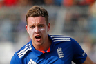 England's Jake Ball in action during the second ODI against Bangladesh in Dhaka. Photo / AP