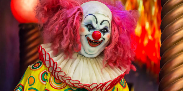 People are getting in an online frenzy with reports of these scary clown sightings in New Zealand cities, including Auckland, Christchurch, Wellington and Hamilton. Photo / 123rf