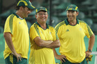 Mark Casey, Wayne Turly and Brett Wilkie of Australia talk it over. Photo / Getty Images