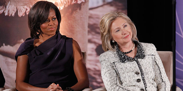 First Lady Michelle Obama and U.S. Presidential Candidate Hillary Clinton. Photo / Getty Images