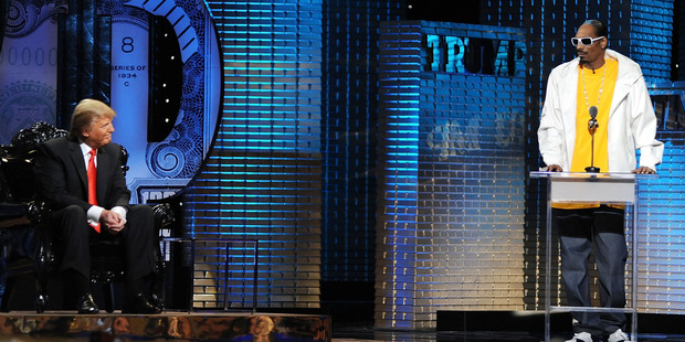 Donald Trump looks on as Snoop Dogg speaks at the Comedy Central Roast of Donald Trump. Photo / Getty Images