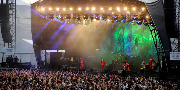A general view of the stage and crowd as Slipknot perform at the Soundwave Music Festival at Sydney Olympic Park on 26th February 2012 in Sydney, Australia. Photo / Getty