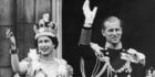 Queen Elizabeth II and the Duke of Edinburgh wave at the crowds from the balcony at Buckingham Palace. Photo / Getty Images