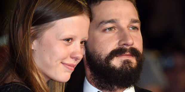 Mia Goth and Shia LaBeouf attend the closing night gala during the 58th BFI London Film Festival. Photo / Getty