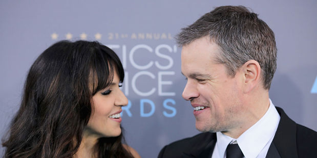 Luciana Barroso, left, and actor Matt Damon attend the 21st Annual Critics' Choice Awards in January this year. Photo / Getty