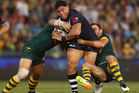 Jason Taumalolo of the Kiwis is tackled during the Trans Tasman Test match against the Australian Kangaroos. Photo / Getty