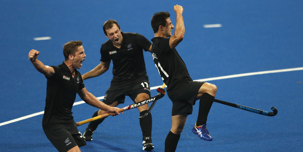 New Zealand celebrate after Shea McAlesse scores at the Rio Olympics. Photo / Getty Images