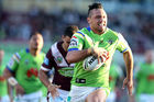 Porirua-born, Gold Coast-bred Canberra Raiders wing Jordan Rapana will make his test debut for the Kiwis against the Kangaroos in Perth tonight. Photo / Getty.