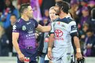 Cooper Cronk of the Storm and Johnathan Thurston of the Cowboys talk after the NRL Qualifying Final match between the Melbourne Storm and the North Queensland Cowboys. Photo / Getty
