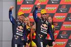 Alex Premat and Shane Van Gisbergen celebrate on the Bathurst podium. Photo / Getty Images