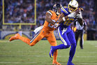 Tyrell Williams of the San Diego Chargers makes a catch in front of Chris Harris. Photo / Getty