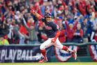 Cleveland Indians Shortstop Francisco Lindor (12) celebrates as he rounds the bases after hitting a 2-run home run during the sixth inning of the American League Championship. Photo / Getty