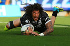 Kevin Proctor of New Zealand crosses for a try. Photo / Getty