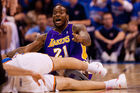 Josh Powell of the Los Angeles Lakers looks to the referee for a call against the Oklahoma City Thunder. Photo / Getty Images