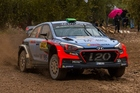 Hayden Paddon and John Kennard in action at the WRC Spain. Photo / Timo Anis
