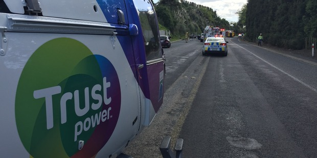 The Trustpower TECT helicopter was on scene in Papamoa where a light truck, van and car collided. Photo/supplied