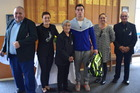 Jesse receives the Nga Purapura Trust award. L-R: Geoff Kaye-Ivitu , Leona Davis-Kaye, Ruia Morrison MBE, Jesse Galvin-Dawson, Marion Galvin, Dinny Mohi. Photo/Supplied
