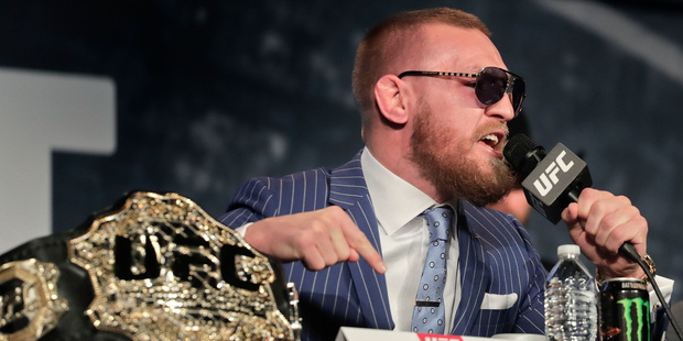 Conor McGregor has been punished for an outburst he had at the UFC 202 press conference in August. Photo / AP