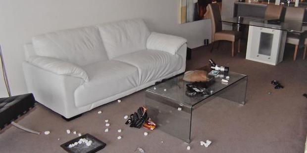 Police photograph of Gable Tostee's 14th floor Surfers Paradise apartment. Photo / Supplied