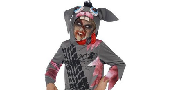 The Roadkill Pet costume for seven-year-olds has not been well received by parents. Photo / partypieces.co.uk
