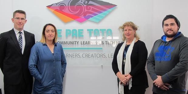 Ruapehu College deputy principal Jason White, Te Pae Tata manager Erena Mikaere-Most, principal Kim Basse and tutor Kawana Wallace working in collaboration in the Waimarino.