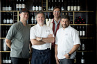 Chefs (L-R) Dwayne Cheed, Peter Gordon, Will Goldfarb and Pablo Del Rio at The Sugar Club in SkyCity. Photo / Dean Purcell