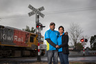 Raj Anand and Seshli Singh had a close call at the Paerata train tracks, north of Pukekohe on Saturday.  Photo / Nick Reed
