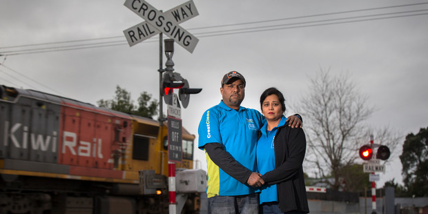 Loading Raj Anand and Seshli Singh had a close call at the Paerata train tracks, north of Pukekohe on Saturday.  Photo / Nick Reed