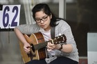 TALENT: Tauranga musician Bianca Goyena won the open section at the Bay News Mount Busking Festival on Sunday. Photo/George Novak