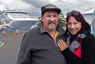 Cruising Australian couple Craig and Jill Jollow arrived on the Sun Princess on the first day of the cruise ship season. Photo/George Novak.
