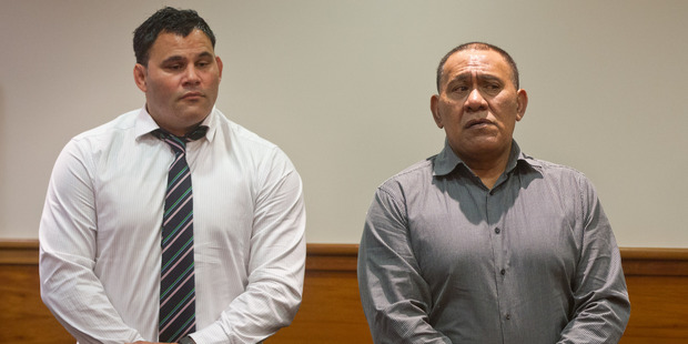 Ngarimu Simpkins (left) and his father Miroa Simpkins were sentenced today in Rotorua District Court. PHOTO/STEPHEN PARKER